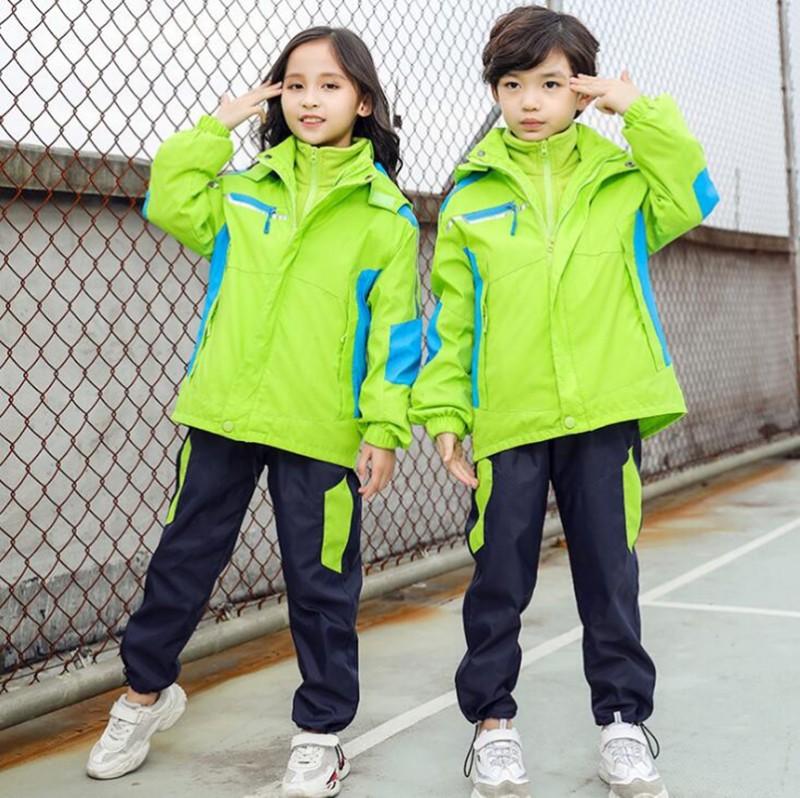 儿童可拆卸冲锋衣加绒加厚三合一